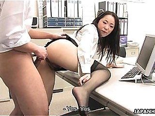 Asian little one shagged by two coworkers with her office