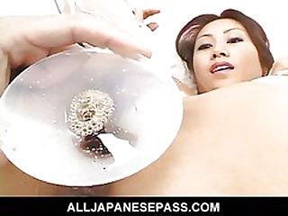 Remarkable Japanese cougar Naami Hasegawa more white stockings fucked