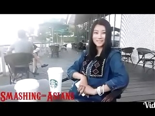 WMAF Japanese teen gets a chunky white cock